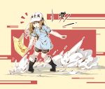 1girl bangs baseball_cap beige_background black_footwear blue_shirt boots brown_eyes brown_hair chinese_commentary clothes_writing collarbone commentary_request flag full_body grey_shorts hair_between_eyes hat hataraku_saibou highres holding holding_flag long_hair looking_at_viewer mouth_hold platelet_(hataraku_saibou) shirt short_sleeves shorts sidelocks simple_background solo standing suaynnai_wanzi translation_request whistle white_headwear