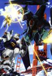 absurdres aircraft battle beam_rifle beam_saber blurry blurry_background bridge day energy_gun flying gaplant glowing glowing_eye green_eyes gundam gundam_mk_ii highres hyaku_shiki mecha no_humans official_art outdoors pink_eyes rick_dias shield water weapon zeta_gundam