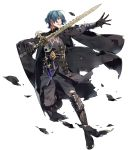 1boy 88_taho aqua_hair armor bangs black_pants blue_eyes byleth byleth_(male) clenched_teeth dagger fire_emblem fire_emblem:_three_houses fire_emblem_heroes full_body gauntlets gloves highres holding holding_sword holding_weapon long_sleeves looking_away male_focus official_art pants parted_lips shiny shiny_skin short_hair solo sword teeth torn_clothes torn_pants transparent_background weapon