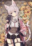 1girl animal_ear_fluff animal_ears belt belt_buckle black_shorts brown_belt buckle camera cat_ears cat_girl cat_tail checkered checkered_background collared_shirt commentary_request copyright_request corset floral_background flower grey_hair hand_on_hip holding holding_camera long_hair long_sleeves n_kamui neck_ribbon open_clothes orange_flower red_ribbon ribbon shirt short_shorts shorts sidelocks solo star tail tail_raised tail_ribbon twitter_username white_shirt wide_sleeves