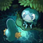 gen_3_pokemon gen_8_pokemon lizard looking_at_each_other mudkip no_humans pokemon pokemon_(creature) pokemon_(game) salamander shy sobble submerged swamp sweat water xous54
