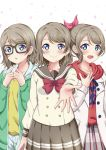 3girls :o asymmetrical_hair bangs bespectacled blue_eyes blush brown_skirt coat collarbone commentary_request fingers_together glasses hair_ribbon hood hood_down hoodie light_brown_hair love_live! love_live!_school_idol_project love_live!_sunshine!! multiple_girls multiple_persona outstretched_hand petals pleated_skirt red_shirt reminiscence202 ribbon school_uniform serafuku shirt short_hair simple_background skirt smile swept_bangs watanabe_you white_background winter_clothes winter_coat yellow_shirt