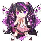 1girl arm_belt asymmetrical_legwear black_hair blue_eyes chain chibi finger_to_face flag gunjou_row hair_ornament heterochromia high_heels kneehighs legs_apart looking_at_viewer multicolored_hair original pink_neckwear pink_ribbon pink_skirt pleated_skirt puffy_short_sleeves puffy_sleeves purple_background ribbon shirt short_hair_with_long_locks short_sleeves sidelocks simple_background single_kneehigh single_thighhigh skirt sleeveless_coat solo streaked_hair thigh-highs twintails two-tone_background violet_eyes white_background white_footwear white_legwear white_shirt wings