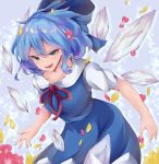 1girl blue_dress blue_eyes blue_hair bow breasts cirno collarbone commentary_request cowboy_shot dress drop_shadow flower gradient gradient_background grey_background hair_between_eyes hair_bow highres ice leaning_forward looking_at_viewer lower_teeth open_mouth petals pinafore_dress puffy_short_sleeves puffy_sleeves red_neckwear red_ribbon ri_cochet ribbon shirt short_hair short_sleeves small_breasts solo thick_eyebrows touhou tsurime white_shirt wind wings