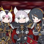 3girls adepta_sororitas animal_ears brown_eyes commentary dog_(mixed_breed)_(kemono_friends) dog_ears emperor_penguin_(kemono_friends) english_commentary fleur_de_lis grey_eyes gun hand_on_another's_head highres imperium japari_symbol kemono_friends multicolored_hair multiple_girls one_eye_closed power_armor red_eyes royal_penguin_(kemono_friends) skull smile warhammer_40k weapon