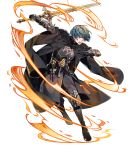 1boy 88_taho aqua_hair armor bangs black_pants blue_eyes byleth byleth_(male) dagger fire_emblem fire_emblem:_three_houses fire_emblem_heroes full_body gauntlets highres holding holding_sword holding_weapon long_sleeves looking_away male_focus official_art open_mouth pants reverse_grip shiny shiny_skin short_hair solo sword transparent_background weapon