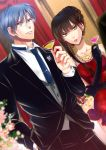 1boy 1girl black_gloves black_pants blue_hair blurry blurry_background braided_bun brown_eyes brown_hair collarbone dress dutch_angle earrings elbow_gloves formal gloves hair_bun hand_in_pocket hetero highres indoors izumi_(stardustalone) jewelry long_hair necktie pants red_dress ring student_solver suit very_long_hair