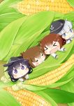 >_< 4girls :< :o =v= akatsuki_(kantai_collection) anchor_symbol blue_eyes brown_hair chibi commentary_request corn fang flat_cap food hair_between_eyes hair_ornament hairclip hat hibiki_(kantai_collection) hinata_yuu ikazuchi_(kantai_collection) inazuma_(kantai_collection) kantai_collection long_hair long_sleeves multiple_girls neckerchief purple_hair school_uniform silver_hair violet_eyes