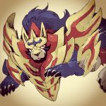 armor armored_animal blue_fur claws demon_lord_(artist) looking_away multicolored_eyes no_humans pokemon pokemon_(creature) pokemon_(game) shield tongue zamazenta