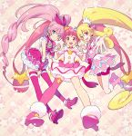 3girls :d ahoge aida_mana asymmetrical_legwear bangs bike_shorts blonde_hair blue_eyes blunt_bangs boots bow choker closed_mouth commentary_request creator_connection crop_top cure_heart cure_melody cure_star dokidoki!_precure dress earrings frilled_skirt frills full_body fur_trim hair_bow hair_ornament hairband heart heart_earrings heart_hair_ornament high_heel_boots high_heels highres holding_hands hoop_earrings hoshina_hikaru houjou_hibiki interlocked_fingers jewelry kurochiroko long_hair magical_girl multiple_girls open_mouth partial_commentary pink_choker pink_dress pink_eyes pink_hair pink_legwear pink_skirt planet_hair_ornament ponytail precure reaching_out round_teeth single_thighhigh skirt sleeveless smile star star_choker star_hair_ornament star_twinkle_precure suite_precure teeth thigh-highs twintails upper_teeth very_long_hair wrist_cuffs