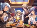 4girls :d :o ahoge bangs blue_eyes blue_hair blue_ribbon blue_skirt blue_sky blush bowl braid breasts bronya_zaychik brown_hair brown_jacket character_request chopsticks closed_eyes closed_mouth collarbone commentary_request day dress drinking_straw eating eyebrows_visible_through_hair flower food fruit hair_between_eyes hair_flower hair_ornament hair_over_one_eye hair_ribbon hairclip hands_up holding holding_bowl holding_chopsticks homu_(honkai_impact) honkai_(series) honkai_impact_3rd indoors jacket layered_skirt leaning_forward long_hair long_sleeves medium_breasts mosta_(lo1777789) multiple_girls neck_ribbon object_hug open_mouth parted_lips pleated_skirt red_ribbon ribbon rita_rossweisse shirt shoulder_cutout skirt sky sleeveless sleeveless_dress small_breasts smile strawberry stuffed_animal stuffed_bunny stuffed_toy transparent twin_braids twintails white_dress white_flower white_shirt window