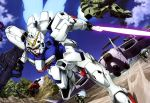 absurdres aircraft airplane beam_rifle beam_saber blue_sky day dutch_angle energy_gun flying green_eyes gun-ez gundam highres mecha no_humans official_art outdoors sky thrusters v_gundam victory_gundam weapon