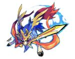 2019 artist_name aura blue_fur dated pokemon pokemon_(creature) pokemon_(game) red_fur sword weapon white_background zacian