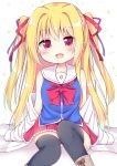 1girl :d absurdres bangs bare_shoulders black_legwear blonde_hair blue_shirt blush boots bow brown_footwear collarbone commentary_request esureki eyebrows_visible_through_hair feet_out_of_frame frilled_skirt frills hair_between_eyes hair_intakes hair_ribbon heart_cutout highres irotoridori_no_sekai jacket long_hair long_sleeves looking_at_viewer nikaidou_shinku off_shoulder open_clothes open_jacket open_mouth pleated_skirt red_bow red_eyes red_ribbon red_skirt ribbon sailor_collar school_uniform serafuku shirt sidelocks sitting skirt sleeveless sleeveless_shirt sleeves_past_fingers sleeves_past_wrists smile solo thigh-highs two_side_up very_long_hair white_jacket white_sailor_collar