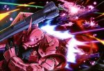 absurdres battle bazooka beam explosion glowing glowing_eye gundam highres mecha mobile_suit_gundam no_humans official_art red_eyes salamis_class space space_craft war weapon zaku_ii_s_char_custom