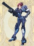 1girl armor blue_eyes blue_gloves breasts brown_hair earpiece full_body gloves gun hand_on_hip holding holding_gun holding_weapon looking_at_viewer saki_einhieral short_hair small_breasts solo standing taki_yukinaga weapon yozaka_osaka