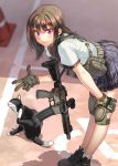 assault_rifle blurry blush brown_hair cat commentary depth_of_field from_above gloves gun knee_pads kws leaning_forward load_bearing_vest looking_to_the_side m4_carbine military original pleated_skirt pose rifle school_uniform signature skirt smile violet_eyes weapon