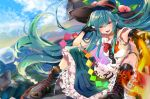 1girl :d absurdres arm_up bangs black_footwear black_gloves black_headwear blouse blue_hair blue_skirt blue_sky blush boots bow bowtie breasts center_frills clouds commentary_request cross-laced_footwear day embers eyebrows_visible_through_hair fingerless_gloves flaming_sword food fruit gloves hair_between_eyes head_tilt highres hinanawi_tenshi holding holding_sword holding_weapon keystone knees_up lace-up_boots leaf left-handed lens_flare long_hair looking_at_viewer mountain open_mouth outdoors peach petticoat red_bow red_eyes red_neckwear rope satoupote shide shimenawa short_sleeves sidelocks sitting skirt sky small_breasts smile solo sword sword_of_hisou touhou v-shaped_eyebrows very_long_hair weapon white_blouse