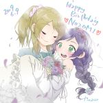 2girls artist_name ayase_eli blonde_hair blush bow bowtie braid carrying closed_eyes dated dress flower formal green_eyes happy_birthday heart highres kinacojjs long_hair looking_at_another love_live! love_live!_school_idol_project multiple_girls open_mouth petals ponytail princess_carry purple_hair scrunchie simple_background suit teeth tongue toujou_nozomi veil wedding wedding_dress white_background yuri