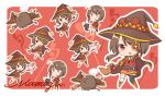 /\/\/\ 1girl artist_name bandaged_leg bandages black_headwear black_legwear brown_hair cape chibi chomusuke dress eyepatch face_down full_body hat kono_subarashii_sekai_ni_shukufuku_wo! lying megumin multiple_views no_hat no_headwear nut_megu on_stomach open_mouth outline red_background red_eyes short_dress short_hair signature simple_background single_thighhigh solo staff surprised thigh-highs unconscious witch_hat zettai_ryouiki