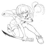 1girl blood bloody_weapon bruise bruise_on_face danganronpa eyebrows_visible_through_hair greyscale half-closed_eye harukawa_maki highres holding holding_sword holding_weapon injury kneeling long_hair low_twintails monochrome nanin new_danganronpa_v3 open_mouth shirt shoes short_sleeves shorts simple_background socks solo sword tears twintails weapon white_background