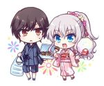 1boy 1girl bag black_hair blue_eyes candy_apple charlotte_(anime) commentary_request cotton_candy flower food full_body hair_flower hair_ornament japanese_clothes jinbei_(clothes) kimono kousetsu long_hair lowres otosaka_yuu pink_kimono plastic_bag ponytail red_eyes silver_hair simple_background striped takoyaki tomori_nao white_background yukata
