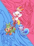 fang gen_8_pokemon grookey no_humans pika_(eretisu579) pokemon pokemon_(creature) pokemon_(game) pokemon_swsh scorbunny sobble stick two-tone_background zacian zamazenta