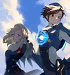 2girls absurdres alternate_costume alternate_hairstyle arched_back armband backlighting bangs beret black_gloves blonde_hair blue_bodysuit blue_eyes blue_sky blue_wings bodysuit breasts brown_eyes brown_hair cadet_oxton clenched_hand clouds cloudy_sky combat_medic_ziegler day eyebrows_visible_through_hair eyes_visible_through_hair gloves glowing grin hair_tucking hand_in_hair harness hat highres huge_filesize long_sleeves looking_at_viewer maro_(lij512) mechanical_wings medium_hair mercy_(overwatch) messy_hair multiple_girls outdoors overwatch short_hair signature skin_tight sky small_breasts smile tracer_(overwatch) upper_body white_headwear wind wings