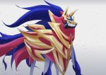 armor blue_fur gen_8_pokemon nikaku no_humans pokemon pokemon_(creature) pokemon_(game) pokemon_swsh shield white_background wolf zamazenta