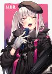 1girl absurdres backpack bag bangs beret black_gloves blue_eyes blush breasts cellphone eyebrows_visible_through_hair girls_frontline gloves grey_hair hat heterochromia highres kyo long_hair looking_at_viewer mdr_(girls_frontline) multicolored_hair one_side_up open_mouth phone pink_eyes pink_hair side_ponytail sidelocks smile solo streaked_hair tactical_clothes