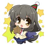 1girl black_legwear blue_skirt brown_eyes brown_footwear brown_hair chibi clannad commentary_request full_body hat hikarizaka_private_high_school_uniform ibuki_fuuko ikeda_jun_(aquaqua) loafers long_hair looking_at_viewer low-tied_long_hair pantyhose party_hat sailor_collar school_uniform shoes skirt smile solo star starfish starry_background white_background white_sailor_collar