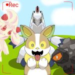 alcremie coal dog duraludon looking_at_viewer metal monterrioashmore no_humans pokemon pokemon_(creature) pokemon_(game) recording rolycoly sky tongue tongue_out whipped_cream yamper