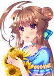 ahoge alternate_hairstyle bangs bow brown_eyes brown_hair casual choker collarbone double_bun fang flower hair_bow hair_flower hair_ornament heart_lock_(kantai_collection) highres huge_ahoge jewelry kantai_collection ko_yu kuma_(kantai_collection) long_hair looking_at_viewer low_ponytail open_mouth ring short_sleeves sunflower upper_body