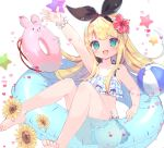 1girl :d arm_up ass ball bangs bare_arms bare_shoulders barefoot beachball bikini black_ribbon blonde_hair blush collarbone commentary_request eyebrows_visible_through_hair flower green_eyes hair_flower hair_ornament hair_ribbon heart knees_up long_hair looking_at_viewer mononobe_alice nijisanji open_mouth outstretched_arm plaid plaid_bikini red_flower ribbon scrunchie sidelocks simple_background sitting smile solo star sunflower suzuhara_(13yuuno) swimsuit very_long_hair virtual_youtuber white_background white_flower white_scrunchie wrist_scrunchie yellow_flower