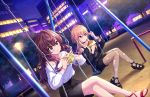 2girls ahoge bangs bench black_choker black_footwear black_shirt black_skirt blonde_hair blue_eyes blush bracelet brown_hair building choker closed_mouth collarbone crossed_arms earrings eating eyebrows_visible_through_hair fishnet_pantyhose fishnets food hair_between_eyes hamburger holding holding_food ichinose_shiki idolmaster idolmaster_cinderella_girls idolmaster_cinderella_girls_starlight_stage jewelry long_hair long_sleeves multicolored_hair multiple_girls night night_sky ninomiya_asuka off-shoulder_shirt off_shoulder official_art orange_hair outdoors pantyhose park park_bench red_footwear shirt sitting skirt sky swing_set torn_clothes torn_legwear two-tone_hair violet_eyes wavy_hair white_shirt