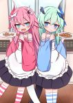 >_< 2girls :d apron bangs black_skirt blue_eyes blue_ribbon blue_sleeves blush bow closed_mouth commentary_request cookie detached_sleeves eyebrows_visible_through_hair fang food frilled_apron frills green_hair hair_between_eyes hair_bow hair_ornament hair_ribbon highres holding holding_food holding_plate honkai_(series) honkai_impact_3rd horn indoors jiu_(sdesd3205) liliya_olyenyey long_sleeves multiple_girls open_mouth pink_bow pink_hair pink_sleeves plate pleated_skirt ribbon rozaliya_olyenyey short_eyebrows skirt smile strapless striped striped_bow striped_legwear tail thick_eyebrows thigh-highs white_apron wide_sleeves window wooden_floor