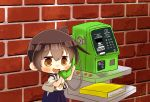 1girl brick_wall brown_eyes brown_hair change_purse chibi commentary_request holding holding_phone japanese_clothes kaga_(kantai_collection) kantai_collection long_hair muneate phone side_ponytail solo taisa_(kari) tasuki telephone_directory tsurime