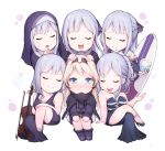 6+girls absurdres ak-12_(girls_frontline) alternate_costume an-94_(girls_frontline) artist_request bangs black_ribbon blonde_hair blue_eyes blush braid chibi closed_eyes closed_mouth dress eyebrows_visible_through_hair french_braid full_body girls_frontline gloves hair_ornament hairband highres jacket long_hair long_sleeves looking_at_another multiple_girls nun open_mouth ponytail ribbon sidelocks silver_hair simple_background sitting smile very_long_hair