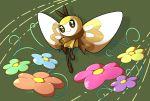 brown_scarf bug closed_mouth commentary creature eagle_(pixiv8177028) flower full_body gen_7_pokemon grey_background highres insect looking_at_viewer no_humans pokemon pokemon_(creature) ribombee scarf signature smile solo translated