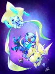 bidoof cosmog dragonite glowing jirachi no_humans oshawott paintbrush pika_(eretisu579) pokemon pokemon_(creature) pokemon_(game) space tanabata umbreon unown