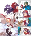 1boy 1girl blush breasts commentary_request curly_hair dog dragon_quest dragon_quest_ii dress gloves goggles goggles_on_head goggles_on_headwear hat hood hood_up imaichi long_hair looking_at_viewer open_mouth panties prince_of_lorasia princess princess_of_moonbrook purple_hair robe smile staff underwear white_panties white_robe