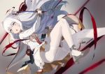 1girl :o azur_lane bangs blue_eyes blurry blurry_background blush breasts commentary_request depth_of_field double_bun dress eyebrows_visible_through_hair grey_background grey_footwear high_heels holding holding_sword holding_weapon le_malin_(azur_lane) long_hair long_sleeves medium_breasts open_mouth pantyhose peroncho saber_(weapon) shoe_soles shoes sidelocks silver_hair solo sword thighband_pantyhose under_boob very_long_hair weapon white_dress white_legwear