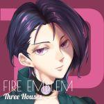 1girl blue_hair choker copyright_name eggsding fire_emblem fire_emblem:_three_houses looking_at_viewer pink_background shamir_navrant short_hair solo violet_eyes