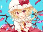 1girl :d ascot bangs blonde_hair blue_background blush bow commentary_request crystal eyebrows_visible_through_hair fang flandre_scarlet flower hair_between_eyes hand_up hat hat_bow hat_flower honotai long_hair looking_at_viewer mob_cap one_side_up open_mouth petticoat puffy_short_sleeves puffy_sleeves red_bow red_eyes red_flower red_ribbon red_rose red_skirt red_vest ribbon rose shirt short_sleeves simple_background skin_fang skirt smile solo sparkle touhou upper_body vest white_headwear white_shirt wings wrist_ribbon yellow_neckwear