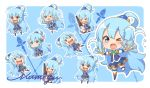 1girl alcohol aqua_(konosuba) aqua_background aqua_eyes aqua_hair arm_warmer artist_name boots bottle chibi crying fan folding_fan full_body hair_bobbles hair_ornament hair_rings kono_subarashii_sekai_ni_shukufuku_wo! long_hair looking_at_viewer miniskirt nut_megu one_eye_closed open_mouth outline outstretched_arms shirt signature simple_background skirt solo staff sweatdrop thigh-highs thigh_boots water wavy_mouth wine_bottle