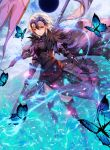 1girl absurdres armor armored_dress banner black_dress black_legwear blue_butterfly cape dress eclipse fate/grand_order fate_(series) headpiece highres holding holding_sword holding_weapon jeanne_d'arc_(alter)_(fate) jeanne_d'arc_(fate)_(all) neon_(hhs9444) purple_cape short_hair silver_hair solo standing sword thigh-highs weapon yellow_eyes