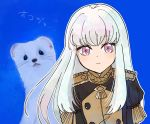1girl animal artist_request bangs closed_mouth epaulettes fire_emblem fire_emblem:_three_houses jacket long_hair long_sleeves looking_at_viewer lysithea_von_cordelia pink_eyes simple_background solo uniform upper_body violet_eyes white_background white_hair