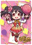 1girl balloon birthday black_hair black_legwear boots character_name chibi commentary_request confetti diamond_earrings earrings english_text full_body happy_birthday heart holding_balloon jewelry leg_up long_hair long_sleeves looking_at_viewer love_live! love_live!_school_idol_project miloku nico_nico_nii red_eyes red_footwear shiny shiny_hair smile solo standing sunny_day_song twintails yazawa_nico