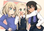 3girls andou_(girls_und_panzer) bangs barashiya bc_freedom_school_uniform belt black_hair blonde_hair blue_eyes blush brown_eyes cellphone dark_skin drill_hair food girls_und_panzer green_eyes hand_on_hip long_hair long_sleeves macaron marie_(girls_und_panzer) medium_hair messy_hair multiple_girls necktie open_mouth oshida_(girls_und_panzer) phone pleated_skirt school_uniform simple_background skirt smartphone smile sweater sweater_around_neck taking_picture v