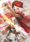 1girl arm_up bangs belt belt_buckle breasts brown_belt buckle cape commentary_request dark_skin dress eyebrows_behind_hair fate/grand_order fate_(series) gun hair_between_eyes highres holding holding_gun holding_sword holding_weapon kazuki_seto lakshmibai_(fate/grand_order) looking_at_viewer open_mouth red_cape red_eyes red_headwear sleeveless sleeveless_dress small_breasts solo sword turban v-shaped_eyebrows weapon white_dress white_hair